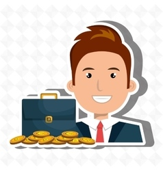 man with portfolio and coins isolated icon design vector image