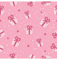 Seamless pink gift boxes pattern vector image vector image