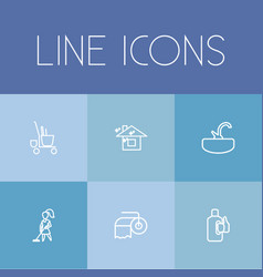 set of 6 editable cleanup outline icons includes vector image