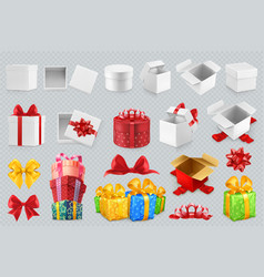 gift boxes with bows 3d set of icons vector image