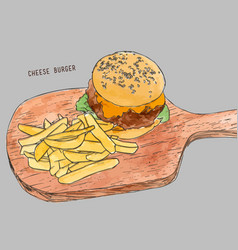hamburger with fries hand drawn sketch vector image