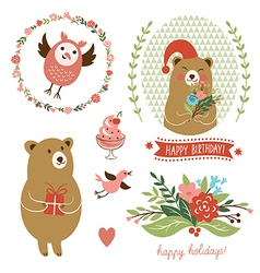 Holiday Clip Art set of cute animals vector image