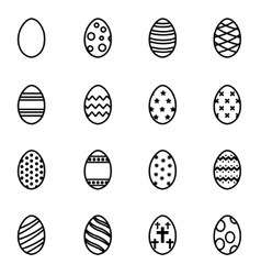 line easter icon set vector image vector image