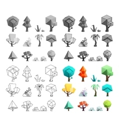 Low poly trees rocks grass icons set flat design vector image vector image