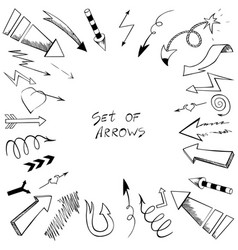 set of arrows with sketch style vector image vector image