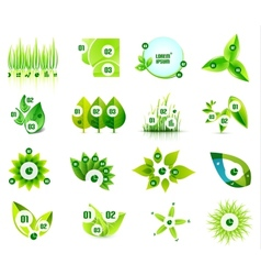 Set of eco leaf infographic design templates vector image