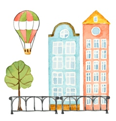 Watercolor elements of urban design house tree vector image