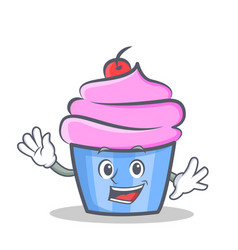 waving cupcake character cartoon style vector image