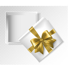 White gift box with gold ribbon and bow - top view vector