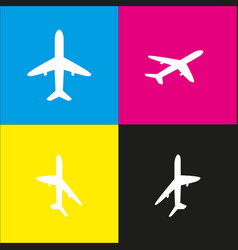 airplane sign white icon vector image