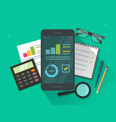 analytics data results on mobile phone screen and vector image