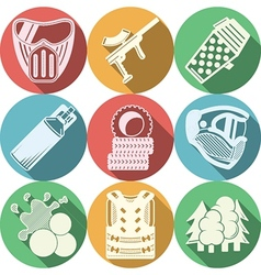 Flat icons collection for paintball vector image