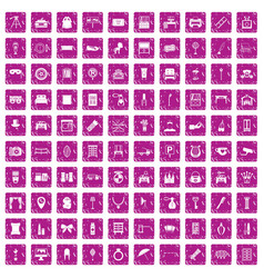 100 mirror icons set grunge pink vector