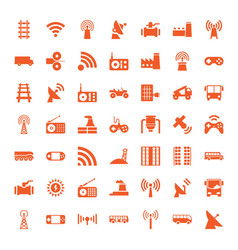 49 station icons vector image