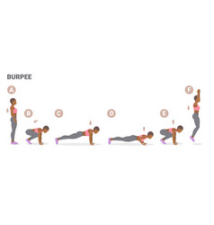 African american girl doing workout burpee vector
