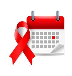 AIDS awareness ribbon and calendar vector
