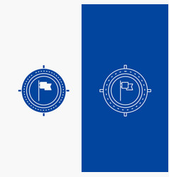 aim business deadline flag focus line and glyph vector image