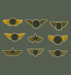 army patches with wings heraldic icons set vector image