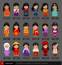 Asian girls in national dress vector