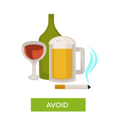 avoid alcohol and smoking health care themed tip vector image