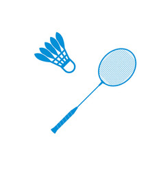 Badminton shuttlecock and racket icon vector
