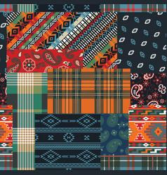 Bandana native motifs and tartan fabric patchwork vector