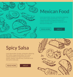 banner with mexican food elements vector image