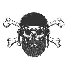 Bearded soldier skull with crossed bones in army vector