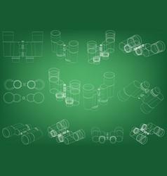 binoculars on a green vector image