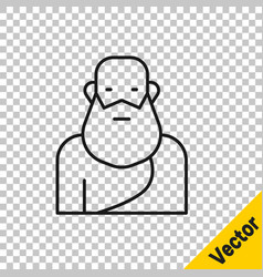 Black line socrates icon isolated on transparent vector