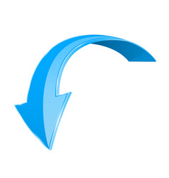 Blue down 3d arrow shiny curved icon isolated on vector