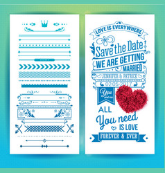 blue getting married love stationery with heart vector image