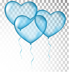 Blue heart balloons transparent vector