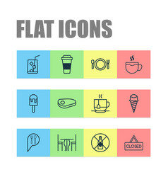 Cafe icons set with dining room steak tea and vector