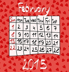 Calendar for February 2015 Cartoon Style Hearts vector