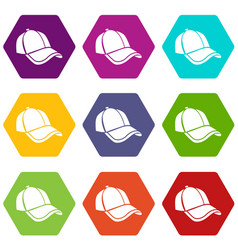 cap icons set 9 vector image