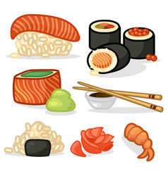 Cartoon color japanese sushi icons set vector