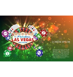 casino roulette playing cards wit falling chips vector image