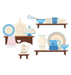 Ceramic kitchen cookware cafe restaurant vector
