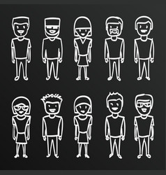 Chalkboard sketch people sing boy family vect vector