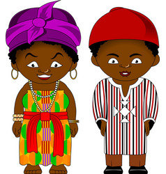 Cheerful african couple from ghana vector