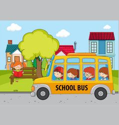 children in the school bus vector image