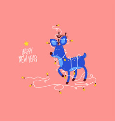 Christmas and happy new year holidays card funny vector