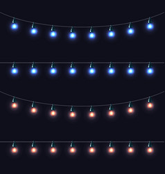 christmas glowing lights garlands set vector image