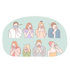 Cold flu feeling ill and infection concept vector