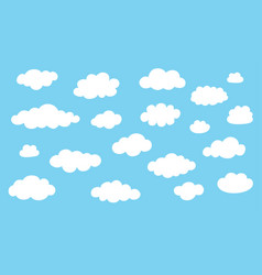 collection cloud icons white clouds isolated vector image