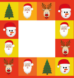 Colorful square christmas frame decorative vector