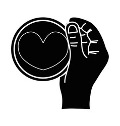 contour hand with heart emblem to love and vector image