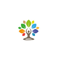 creative yoga tree lotus logo design symbol vector image