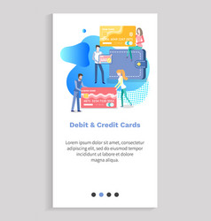 debit and credit cards people using banking vector image